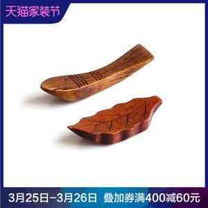 日式和风家用实木筷子枕餐具原木创意筷架筷子托树叶小<span class=H>鱼</span>形状筷托