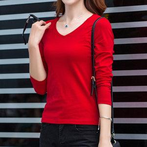 女衫大红色纯棉打底<span class=H>上衣</span>韩版秋冬季内搭修身显瘦V领长袖女士t恤