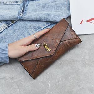 2019新款韩版潮女士<span class=H>钱包</span>女长款三折叠多功能搭扣多卡位手拿手抓包