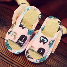 Children's cartoon family, linen, family, indoor, antiskid, mute, soft bottom, summer slippers.