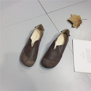 真皮单鞋时尚复古风春秋新款棉麻森系<span class=H>女鞋</span>头层牛皮套脚平底女式鞋
