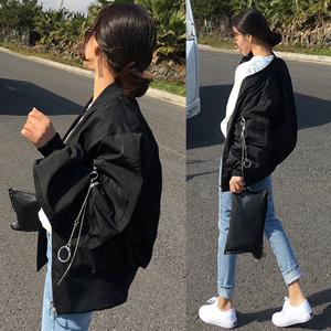 2018秋季韩版宽松外套女装蝙蝠袖飞行员夹克衫学生bf风黑色棒球服
