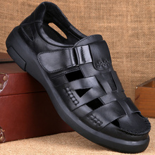Summer Men's Shoes Middle-aged and Old-aged Baotou Sandals Men's Hollow Skid-proof Breathable Leather Shoes Genuine Leather Daddy Shoes Cowskin Hole Shoes