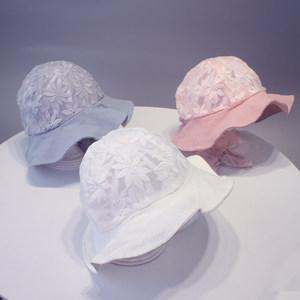 婴儿<span class=H>夏</span>天帽子公主<span class=H>夏</span>季薄款宝宝盆帽3-6个月<span class=H>女</span>童渔夫帽防晒遮阳帽