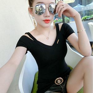 女装2018新款性感V领露肩T恤女短袖修身显瘦上衣夏季百搭打底小衫