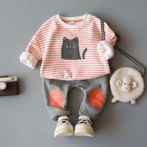 <span class=H>童装</span>春秋男宝宝女童男童套装加绒早春0-1-2-3-4岁婴儿衣服春装潮