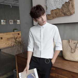 夏季亚麻<span class=H>衬衫</span>男白色七分袖上班工作服中袖衬衣修身休闲棉麻短袖潮