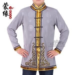 蒙古服男士蒙古袍上衣短款蒙餐酒店服务员工作服蒙古族日常生活装