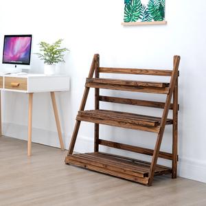 阳台折叠<span class=H>花架</span>防腐木多层阶梯落地式室内实木碳化植物盆栽花盆架子