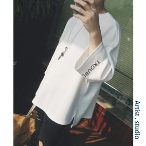 夏季男士短袖<span class=H>T恤</span>韩版长袖白色宽松七分袖半袖衣服潮流原宿风夏装