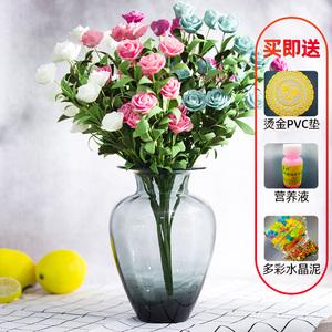 彩色平口插花玻璃瓶水培富贵竹居家摆件欧式现代简约客厅插花干花
