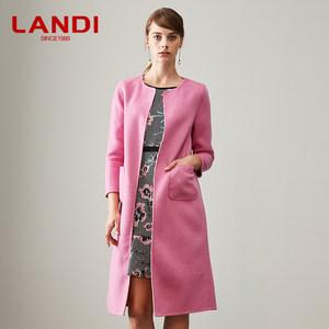 LANDI蓝地薄款双面<span class=H>呢大衣</span>女中长款羊毛外套2018秋冬新款GLSCD008