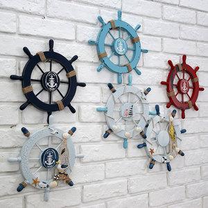 欧式地中海墙面船舵装饰品挂件餐厅<span class=H>挂饰</span>墙饰复古客厅酒吧壁挂<span class=H>壁饰</span>
