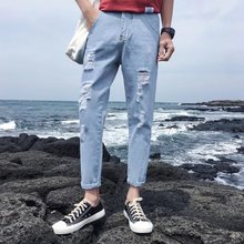 2009 Summer Hole-in-the-Hole Nine-Minute Jeans Men's Self-cultivation Beggars Korean Version Fashion Summer Nine-Minute Bank Eight-Minute Men's Trousers