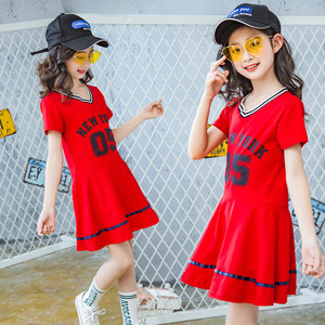 女童学院风运动连衣裙2018新款韩版中大儿童洋气<span class=H>棒球</span>夏装时尚潮