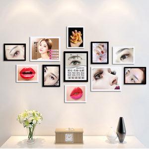 韩式半永久海报眉眼唇美妆背景装饰<span class=H>画</span>相框纹绣美甲创意组合照片墙