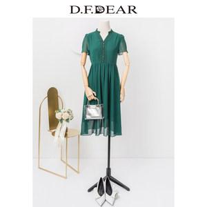 D.F.DEAR/德菲蒂奥2019春秋新款时尚气质纯色短袖中长款连衣裙