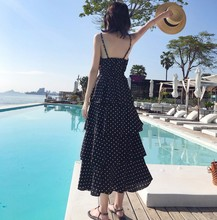 Chic Point Baked Cake Skirt Knee Thai Travel Holiday Skirt Slim V-necktie Dress
