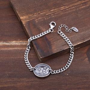 925純銀圣母瑪利亞<span class=H>手鏈</span>女泰銀時尚百搭編織手飾品復古個性馬鞭鏈