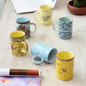 大容量陶瓷茶杯<span class=H>手柄</span>复古青花瓷水杯300毫升个人杯单杯<span class=H>啤酒杯</span>家用