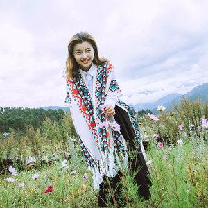 斗篷式外套女披肩外搭流苏秋冬季<span class=H>围巾</span>大西北旅游拍照西藏针织披风