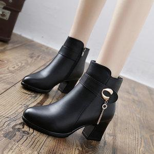 中年中老年<span class=H>靴子</span>中跟粗跟<span class=H>女</span>鞋冬季棉靴加绒皮鞋秋冬棉鞋妈妈鞋短靴