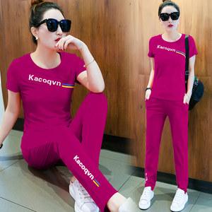 2019夏季新款运动服女士时尚潮韩版宽松短袖套装夏天休闲两件套裤