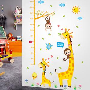 卡通测量身高贴纸墙画宝宝婴儿房间墙壁装饰<span class=H>墙贴</span>画儿童小孩身高尺
