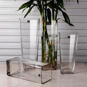 包邮正方形水培富贵百合竹简约大小玻璃花瓶透明方缸绿萝客厅<span class=H>鱼缸</span>