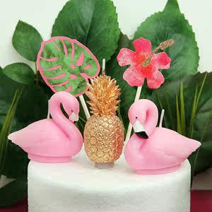 儿童生日派对创意蛋糕装饰<span class=H>菠萝</span>龟背竹龟背竹棕榈叶火烈鸟生日蜡烛