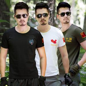 野战特种兵军迷刺绣国旗部队军装军人男短袖t恤半袖修身上衣<span class=H>服装</span>