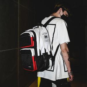 双肩包男时尚潮流个性帆布简约潮牌背包欧美街头嘻哈女大容量学生