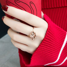 Net red ring female index finger ring Japan and South Korea atmospheric tide person pink finger student simple personality retro style chic tail ring