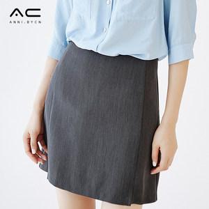 开叉半身裙女夏2018新款修身a字<span class=H>短裙</span>职业工作裙子包臀正装西装裙