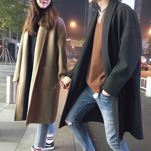 毛呢<span class=H>大衣</span>男2018冬季新款韩版情侣百搭加厚保暖宽松中长款风衣外套