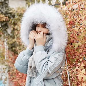 羽绒服女中长款2018冬新款过膝时尚宽松韩版大毛领加厚冬季外套潮