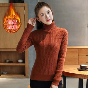 秋冬季新款加厚保暖高领毛衣慵懒风打底衫修身女针织短款线衣套头