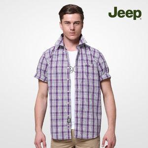<span class=H>JEEP</span> 专柜同款 衬衣商务男装纯棉格子短袖<span class=H>衬衫</span>JS12WH105