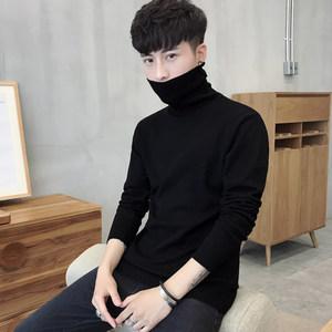 男士修身打底衫高领<span class=H>毛衣</span>纯色针织衫长袖韩版冬季加绒加厚线衫男装