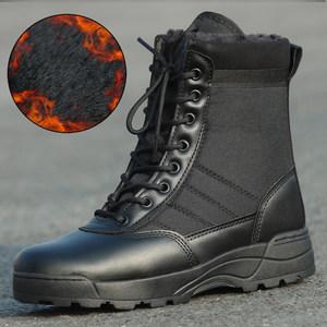狼石冬季加絨加厚沙漠作戰靴男士高幫特種兵<span class=H>軍靴</span>保暖<span class=H>戰術</span>靴陸戰靴