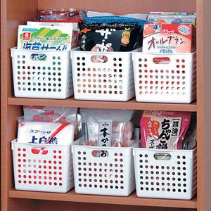 日本进口inomata塑料<span class=H>收纳篮</span> 桌面杂物收纳框长方形洗澡篮置物筐