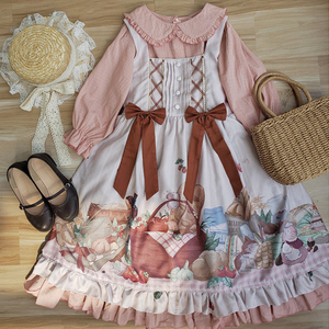 原创正版洛丽塔日常软妹连衣裙仓鼠野餐柄jsk围裙+lolita泡泡袖op