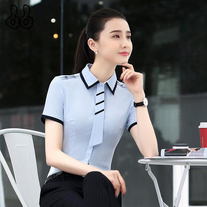 职业衬衫女短袖2019春装新款夏时尚工作服套装女士工装长袖白衬衣