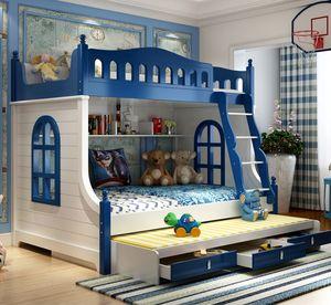 儿童上下床<span class=H>双层床</span>成人简约<span class=H>高低床</span>多功能带滑<span class=H>滑梯</span>子母床男孩实木床