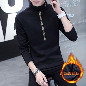 男士冬季高领<span class=H>毛衣</span>男韩版圆领套头学生加绒加厚长袖织衫外套线衣。