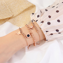Korean version of personality simple Bracelet Titanium steel Rose Gold Bracelet Red student chic cold wind boudoir Forest Department