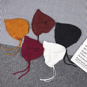 允儿妈女婴童冬季装新款韩版纯色系绳毛线帽新生婴儿百搭<span class=H>帽子</span>
