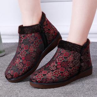 冬季新款老北京布鞋老年奶奶保暖女棉鞋媽媽防滑軟底老太太棉鞋