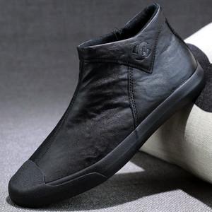 <span class=H>男鞋</span>皮鞋春季休闲<span class=H>高帮鞋</span>一脚蹬百搭<span class=H>鞋子</span>男潮鞋2019新款男士马丁靴