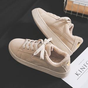 2018冬季新款加绒<span class=H>帆布鞋</span>女韩版百搭学生原宿ulzzang二棉棉鞋板鞋